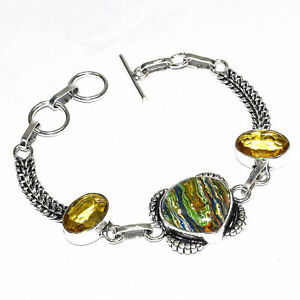 "Rainbow Calsilica Ethnic Gemstone Handmade Gift Jewelry Bracelet 7-8"""