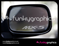 MAZDA MX5 MX-5 LOGO MIRROR DECALS STICKERS GRAPHICS DECALS x 3 IN SILVER ETCH