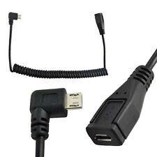 Micro USB Right Left Angle Male to Female Extension Coiled Spiral Charging Cable
