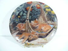 "Knowles 1988 Flower Bed : British Shorthairs & Flower Basket 8-1/2"" plate"
