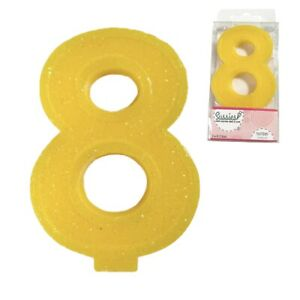 """Large Number Candle Big 8 8th Birthday 3"""" Yellow Sparkle Glitter Art Cake Topper"""
