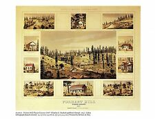 "1976 Vintage CITY ""FORREST HILL PLACER COUNTY (1857)"" Color Art Plate Lithograph"
