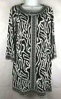 Alfani Dress Women's Size L long sleeve Beaded Neck Black & White