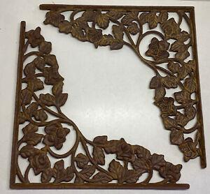 "Decorative Patina Cast Iron Wall Shelf Bracket Brace Ornate Pair (2) Large 14"""