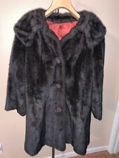 Fur Method Womens Long Maxi Faux Brown Fur Coat Attached Collar Vintage Lined