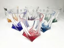 Whiskey Crystal Glass Old Fashioned Rocks 11oz Set of 6  Multi Color Bohemian