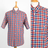 VINTAGE 80'S C&A RED & BLUE PLAID CHECK SHORT SLEEVE SHIRT MOD BUTTON DOWN L