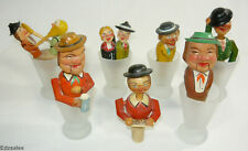 7 Antique Hand Carved Wood Figural Mechanical Puppet Liquor Wine Bottle Stoppers