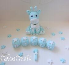 Giraffe Christening Birthday,name blocks Edible Handmade cake decorations topper