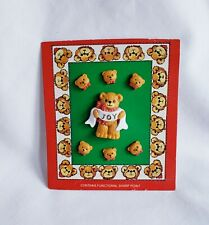 "Vintage Enesco Lucy & Me Christmas Teddy Bear ""Joy"" Lapel Pin & 6 Button Set"