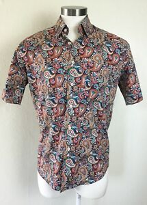 Alan Flusser Short Sleeve Button Down Dress Shirt Men's Medium