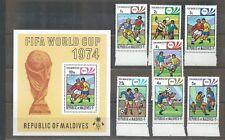 Maldives - 1974 World Cup - Un-mounted Mint Set and Miniature Sheet