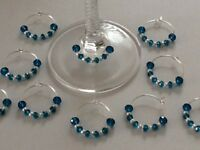20 Teal Crystal Wine Glass Charms.Wedding,party,favours,hens,anniversary