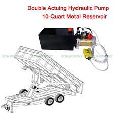 10 Quart 12Volt Hydraulic Pump Power Pack w/ Metal Reservoir for Trailer Dumping