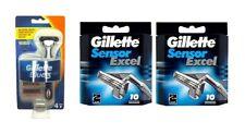 Gillette Blue 3 (Sensor-Type Comp) Razor + Gillette Sensor Excel Refills 20 Ct