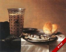 Drink Herring Fish Bread Dinner 1600'S Meal Painting Food Art Real Canvas Print
