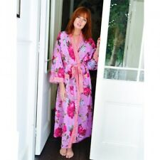 Ladies Long Sleeve 100% Cotton Lilac Rose Floral Dressing Gown/Robe Powell Craft