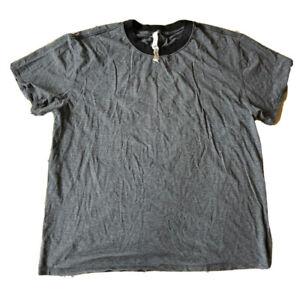 Lululemon Crew Tee Shirt Short Sleeve Pima Cotton Gray Mini Stripe Size 12