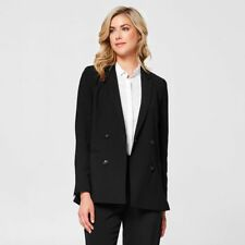 Double-Breasted Fully lined Front Mock pocket Blazer-Black Size 14 RRP$49