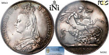 iNi  Great Britain, Victoria, CROWN, 1892, RAREST year of the type, PCGS MS 63