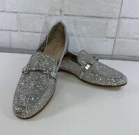 Aldo Womens Silver Glitter Horsebit Loafers Shoes Size 9