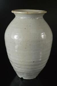 X6705: Korean Lý Dynasty White glaze Shapely FLOWER VASE Ikebana Tea Ceremony