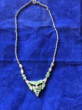 Beautiful Vintage Bogoff Signed Green & Clear Rhinestone Choker Esstate Necklace
