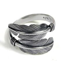 Solid Sterling Silver 925 Wide Double Feather Bird Wing Resizable Wrap Ring UK