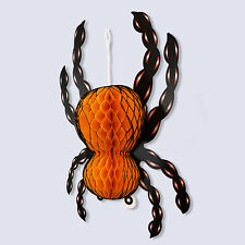 Large Halloween Paper 3D Hanging Decorations Scary Black and Orange Spider