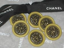 CHANEL 6 METAL CC LOGO FRONT BRASS LION KHAKI BUTTON  20 MM /UNDER 1'' NEW LOT 6