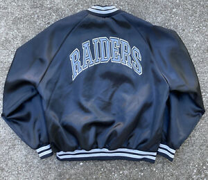 Vintage Chalk Line Raiders Satin Jacket XL Oakland Los Angeles NFL Team Game