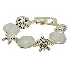 "7 5/8"" Starfish Scallop Seashell Turtle Beach Jewelry White Silver Tone Bracelet"
