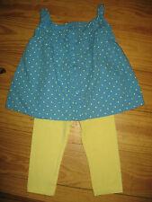 ~Pumpkin Patch~Girls Blue/Yellow 2PC Top and Legging Set  12-18 MO.,EUC