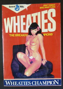 EXTREMELY RARE EMPTY WHEATIES CEREAL BOX WITH BETTIE PAGE PINUP 1991 SEALED