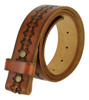 "Casual Jean Belt Genuine Full Leather Engraved Belt Strap 1-1/2"" wide Snap on"