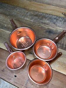 Set of 4 Vintage Copper Colored Aluminum Nested Measuring Cups w/ Handles