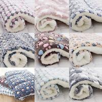 Pet Mat Paw Print Cat Dog Puppy Bed Cushion Mattres Fleece Dog Warm Blanket ~