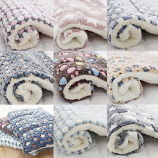 Pet Mat Paw Print Cat Dog Puppy Bed Cushion Mattres Fleece Soft Warm Dog Blanket