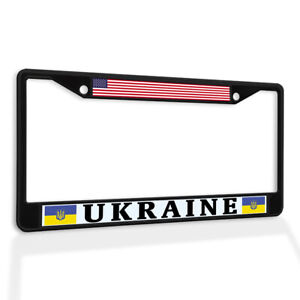 Metal License Plate Frame Vinyl Insert Usa and Ukraine Flag