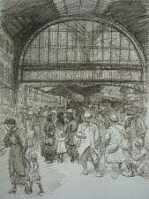 """STEINLEN (1859/1923) Lithographie WW1 - """" SCENE DE DEPART  """" - Signé"""