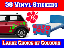 38 Hibiscus Flower Surf Car Sticker Decals - Choice 20+ Colours