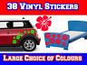 38 Hibiscus Flower Car Stickers for Mini, Beetle, Corsa, Saxo, Fiesta, Clio,C1