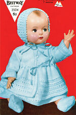 """VINTAGE KNITTING PATTERN COPY TO KNIT DOLL CLOTHES -1950's - FITS 18- 20"""" DOLL"""
