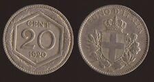 "20 CENTESIMI 1920 ESAGONO - VITTORIO EMANUELE III ""RARA"""