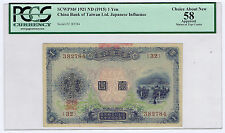 CHINA JAPAN BANK of TAIWAN LTD 1915 P# 1921 YEN in GOLD PCGS SLAB GRADED CAN 58