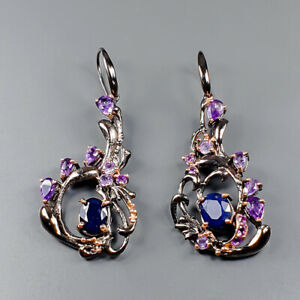 Vintage SET Blue Sapphire Earrings Silver 925 Sterling   /E51630