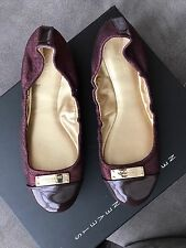 COACH Darsi,Burgundy/Brown Patent Leather Toe/Ballet Flats Shoes,Size 6.5