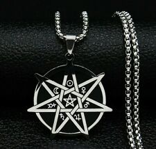 Seven-Pointed Star Witchcraft Amulet Magic Pendant Necklace Stainless Steel