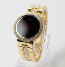 Men Women Gold Plated Iced Digital Smart Touch Screen Hip Hop Sports Watch Metal