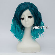 35CM Greenish Blue Ombre Women Party Curly Heat Resistant Lolita Cosplay Wig
